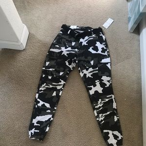 High rise camouflage utility pants